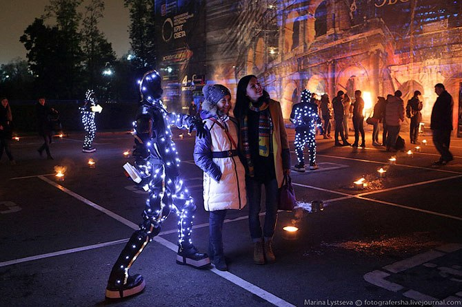Диодные лампы, Фасадная подсветка, многоцветное уличное освещение